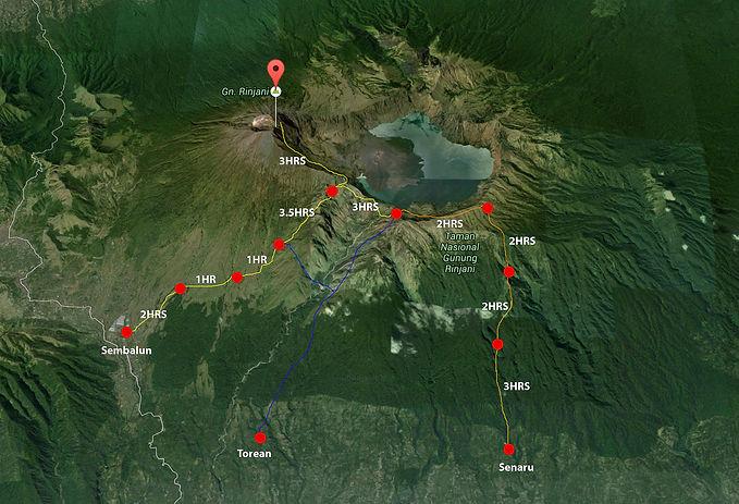 Rinjani Trekking Route