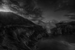 Ijen Lake Black White