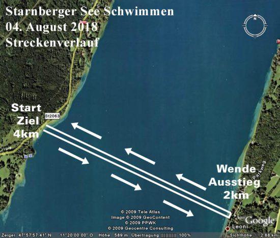 Die Schwimmstrecke des Starnberger See Schwimmen