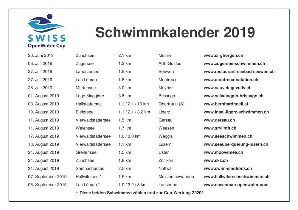 Schwimmkalender Schweiz Open Water Schwimmen