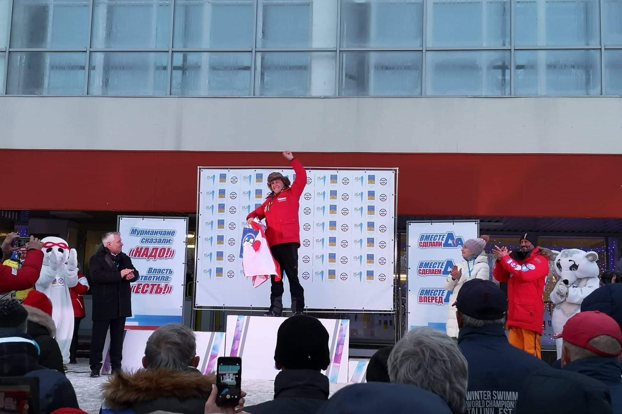 David Haslauer - erster Platz beim Arctic Cup in Russland im Eisschwimmen