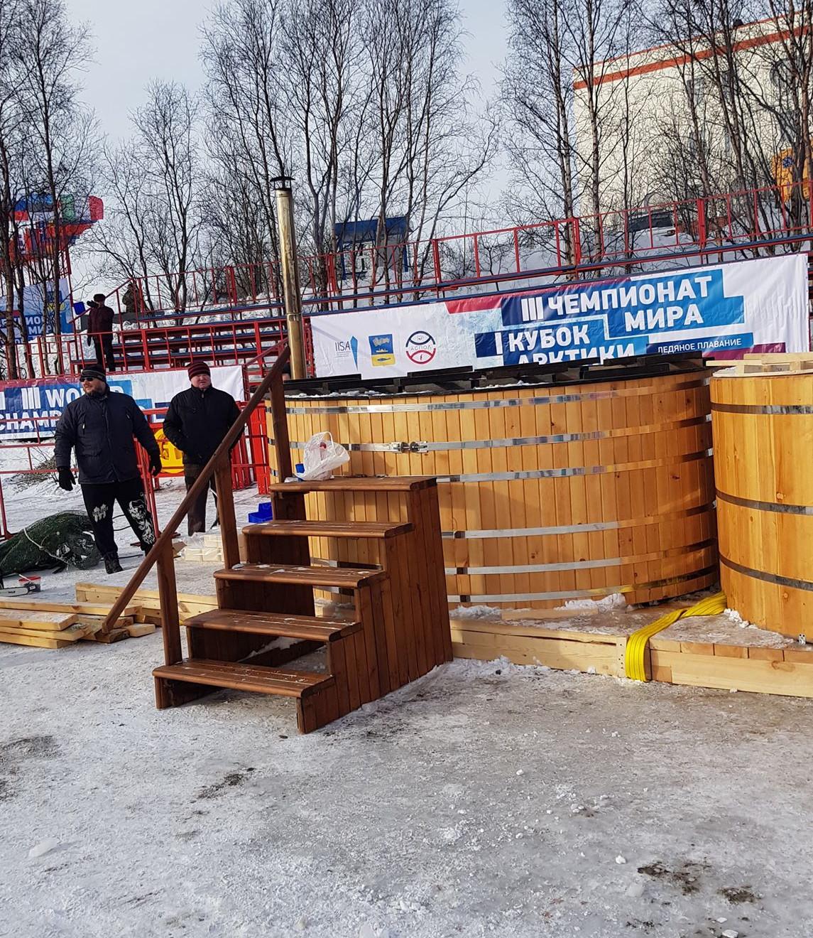 Das Saunabecken bei den Eisschwimm Weltmeisterschaften in Murmansk Russland