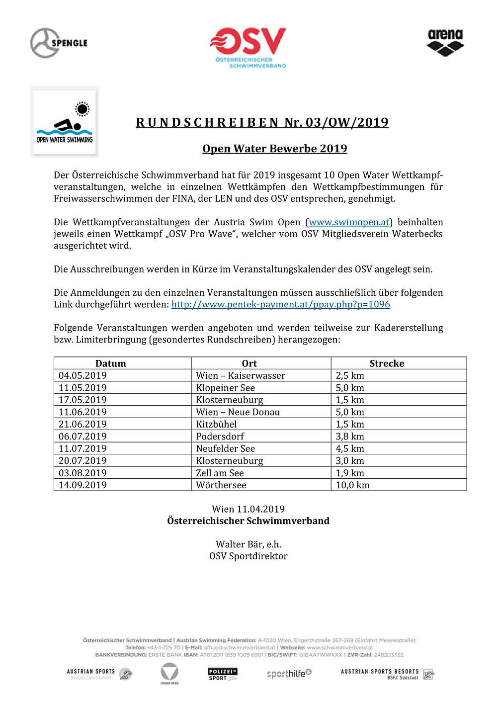 Österreichischer Schwimmverband Rundhscreiben Open Water Nummer 3