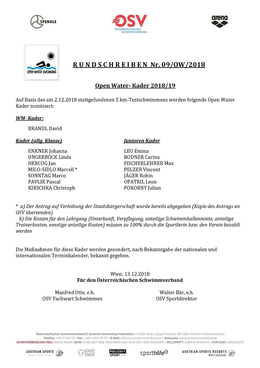 Open Water Kader 2019