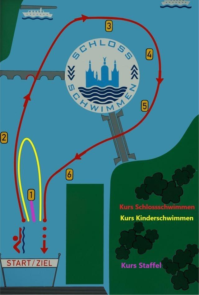 Die Schwimmstrecke des Schweriner Schlossschwimmens