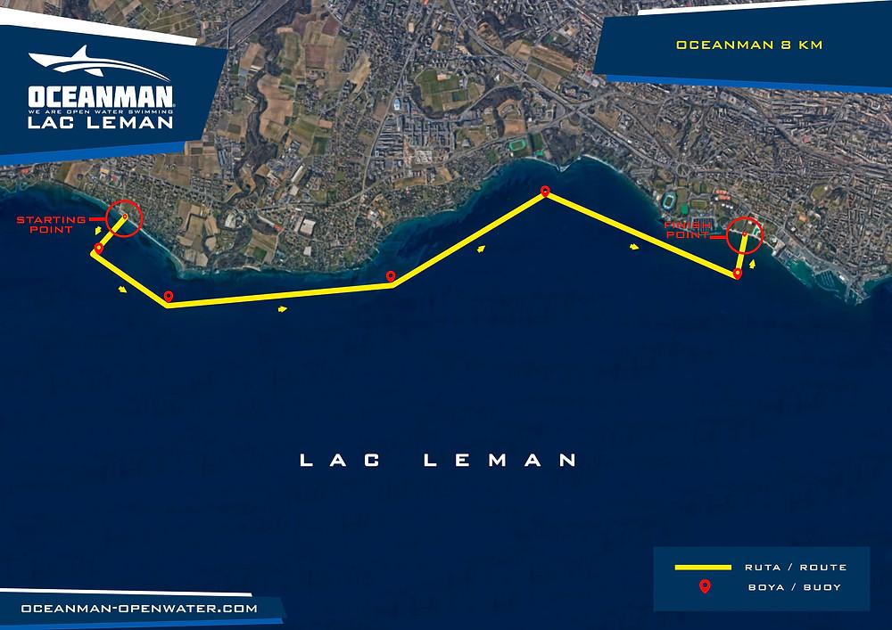 Oceanman Lac Leman Swim Route
