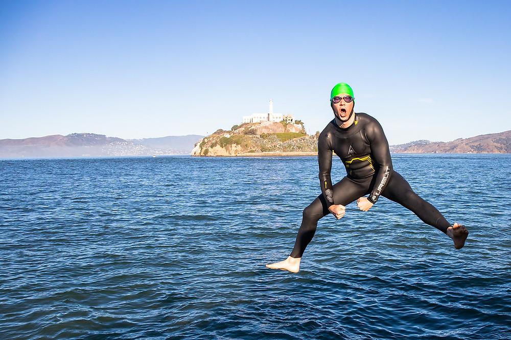 Swimmer in front of Alcatraz