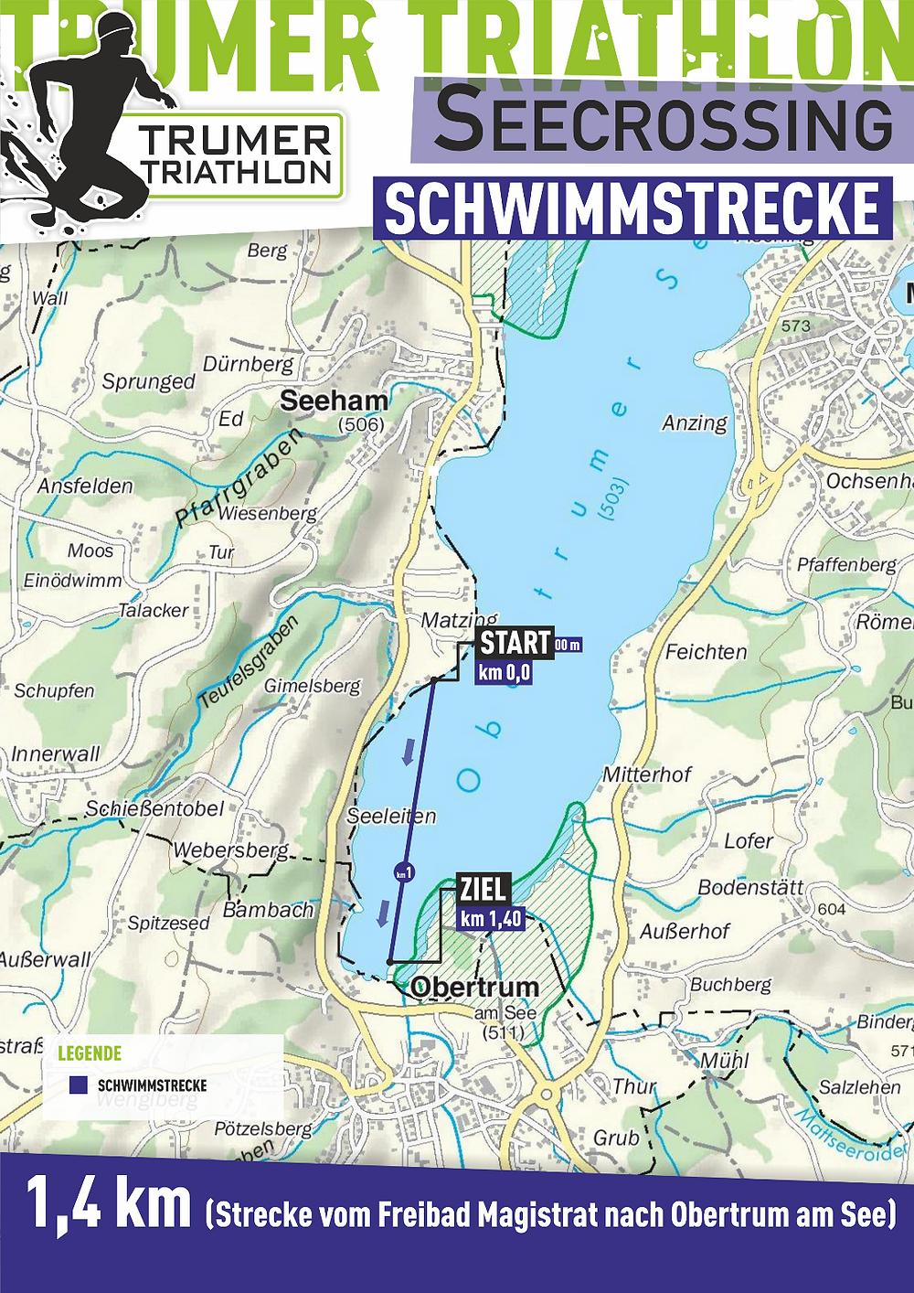 Die 1,4 km Strecke beim Trumer Triathlon Seecrossing
