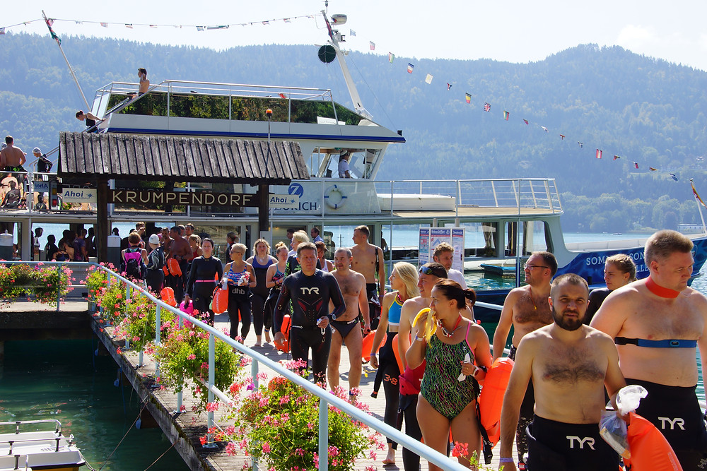 Krumpendorf Schiffsanlegestelle X-Waters open Water Schwimmen