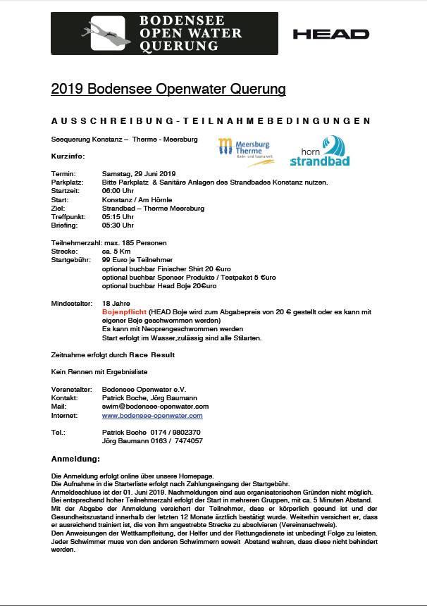 Ausschreibung Bodensee open Water Querung