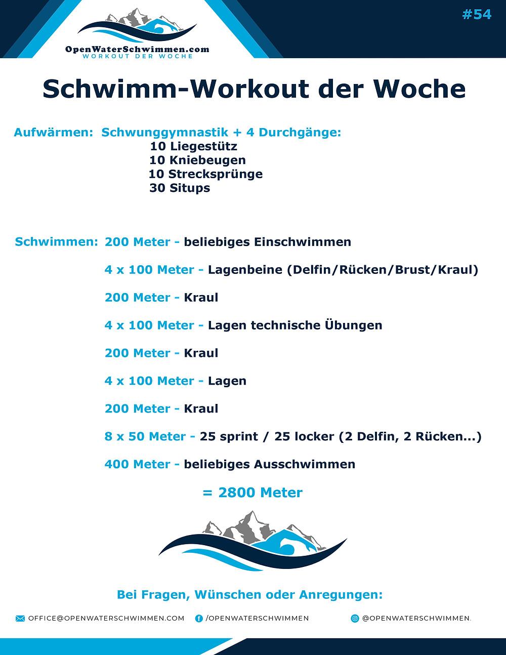 Schwimm-Workout der Woche für Triathleten und Schwimmer