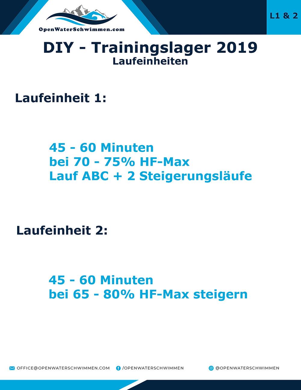 Laufeinheiten für das DIY Trainingslager