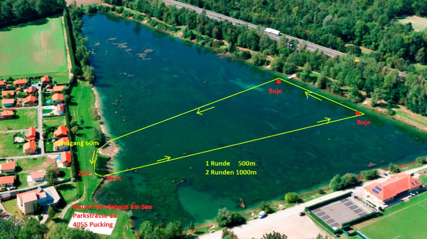 Einzelzeitschwimmen Puckinger See Schwimmstrecke