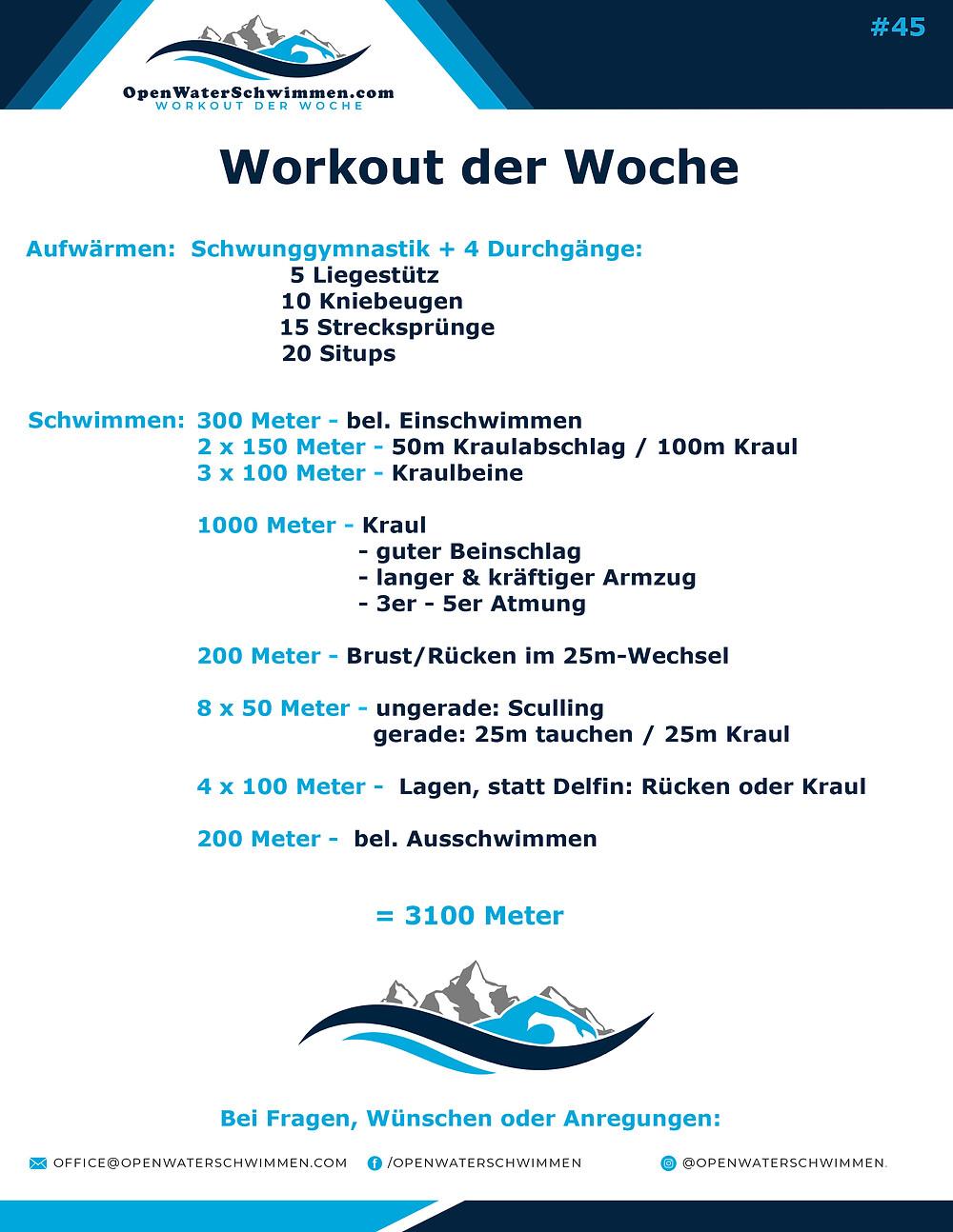 Das Schwimm-Workout der Woche Nummer 45