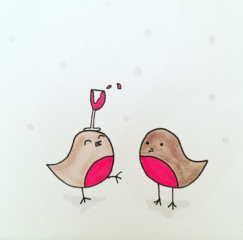 Tipsy Robin Christmas Card