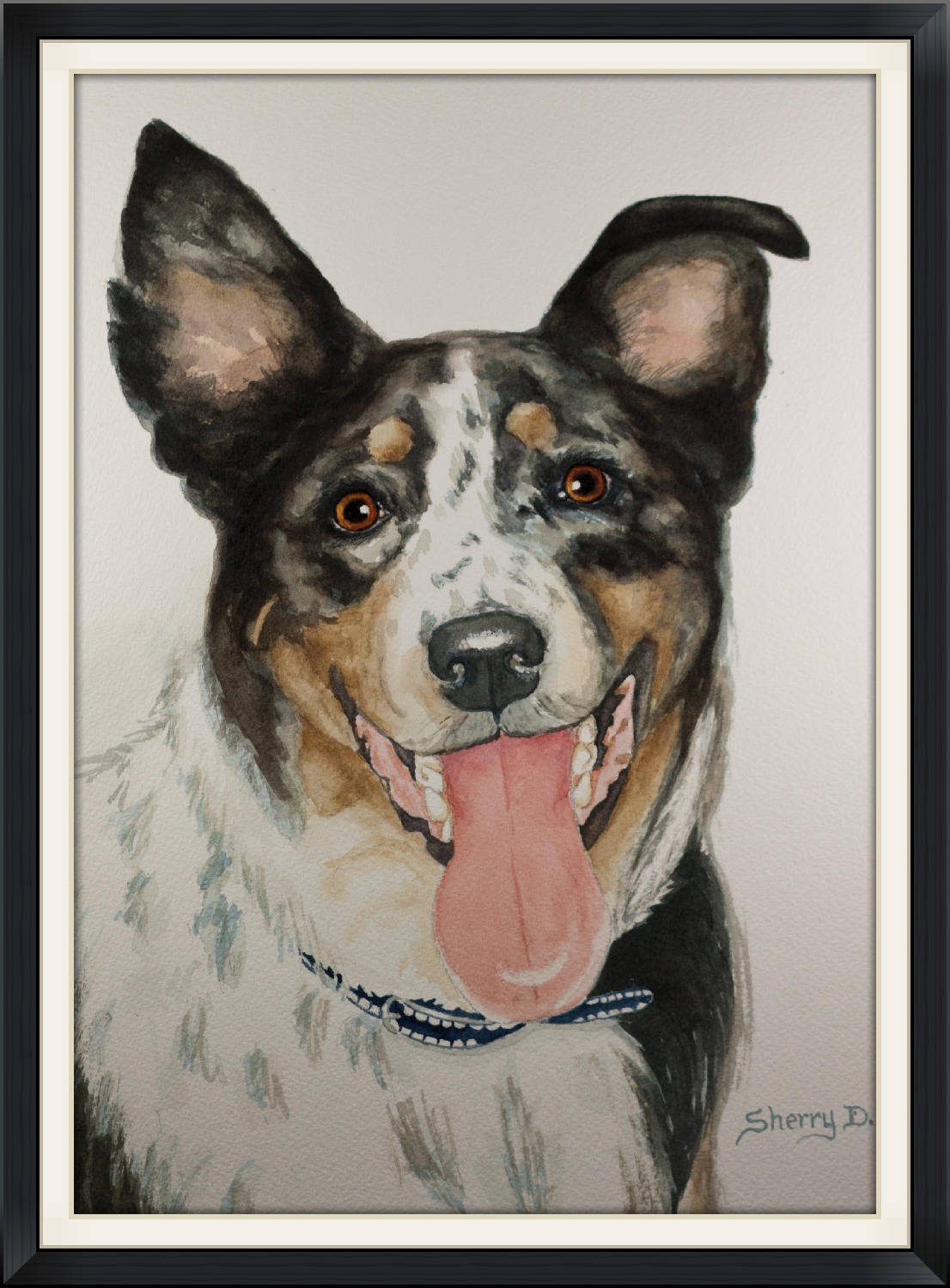 Watercolor painting of dog