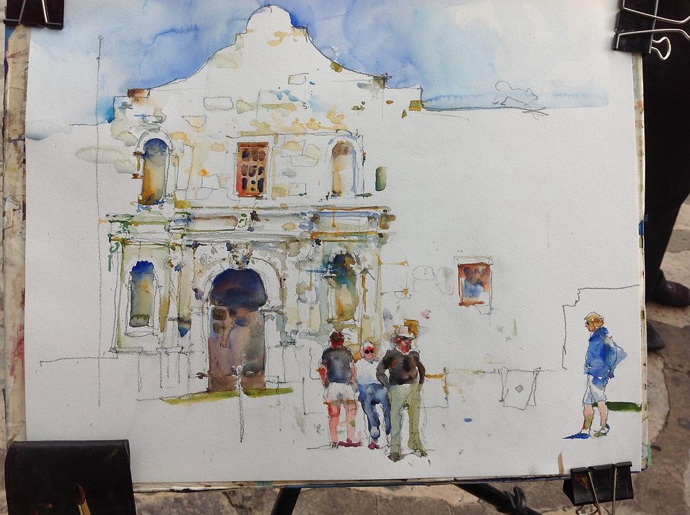 the Alamo adding more colors and sky