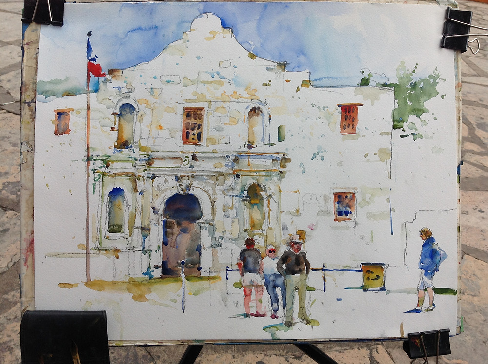 Finished Painting of the Alamo by Charles Reid