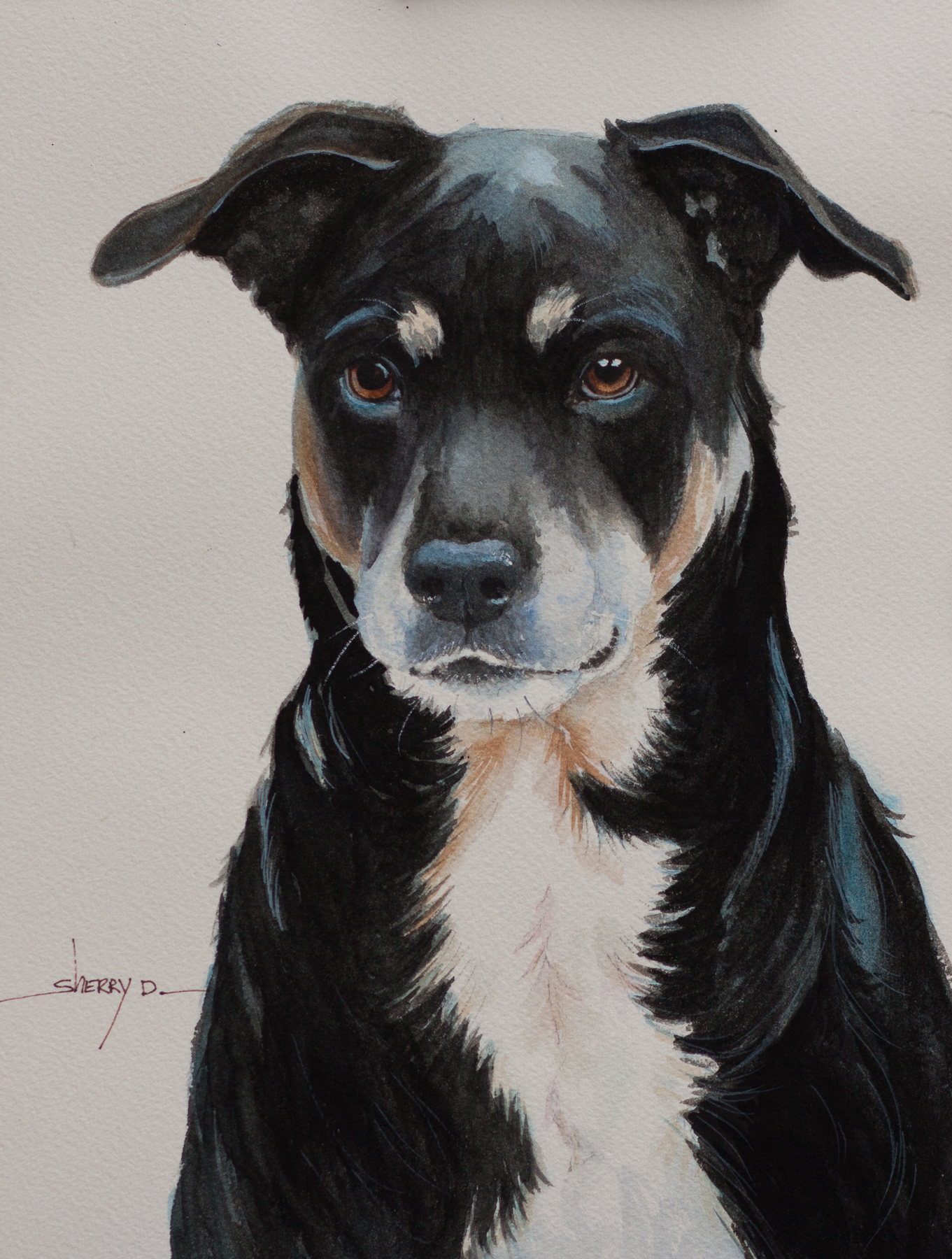 Black Dog Portrait Painting by Sherr