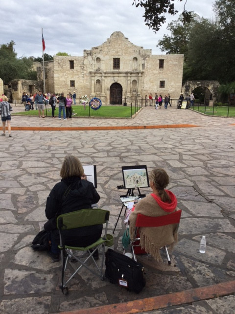 Cindy and I painting our version of the Alamo