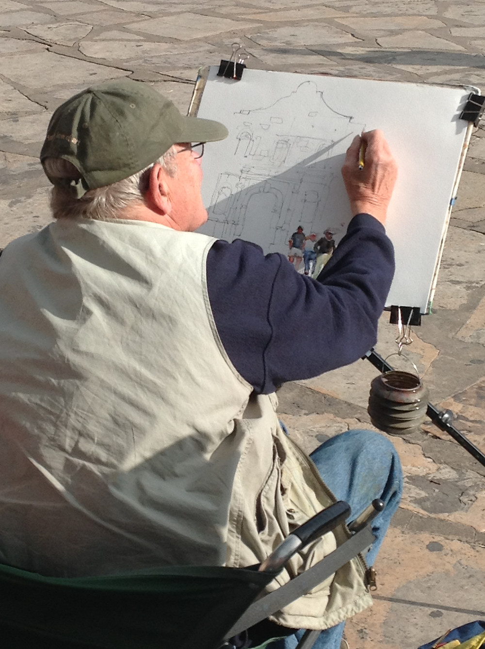 Charles starting the sketch of the Alamo