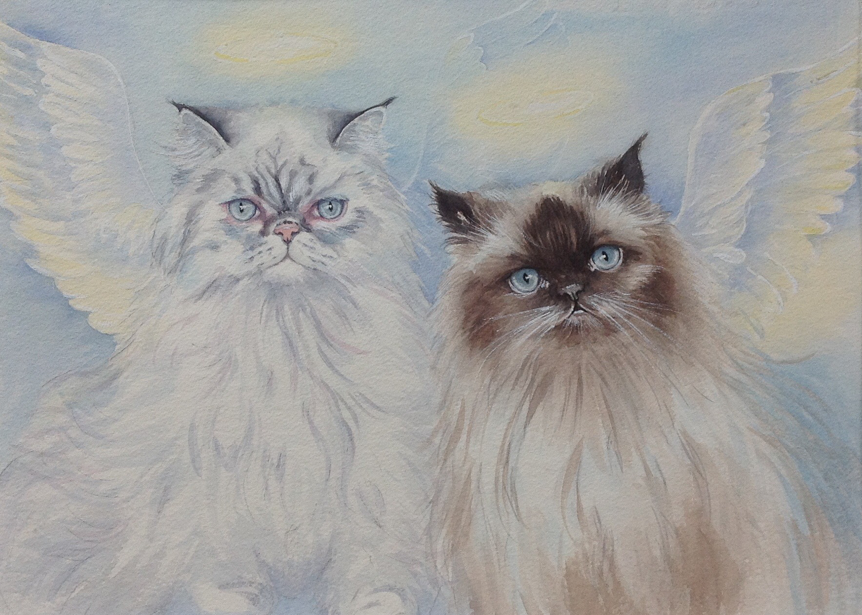 Watercolor painting of 2 Persians