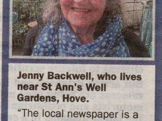 Jenny Backwell supports us and our place in the Community.