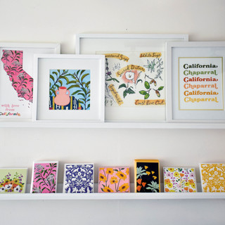 a collection of prints and cards
