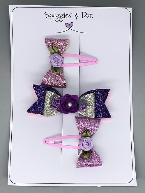 Pink & purple hair barrette set