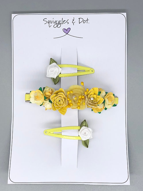 Yellow floral hair barrette set