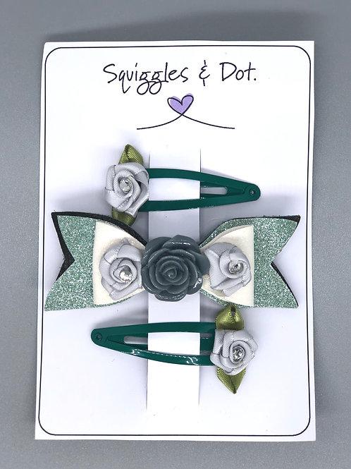 Green & grey hair barrette set