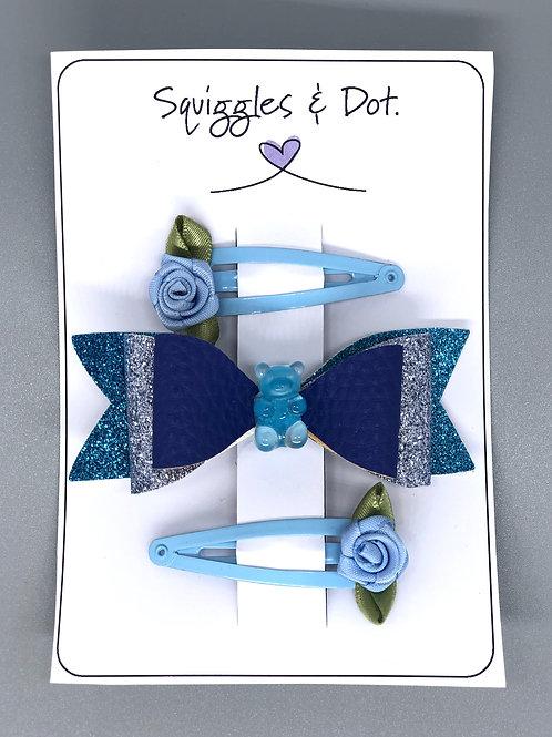 Blue hair barrette set