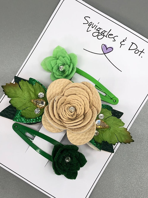 Green & cream rose barrette set