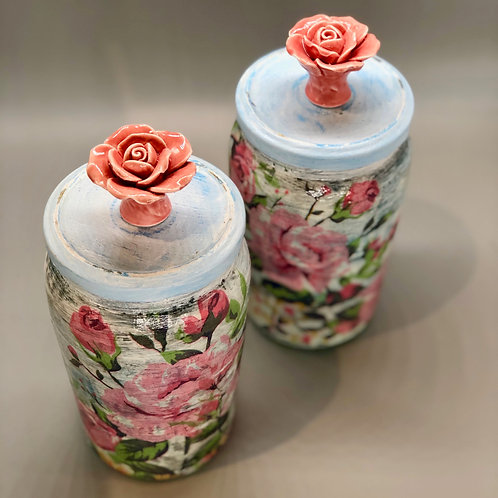 Reclaimed Jar with Rose Handle