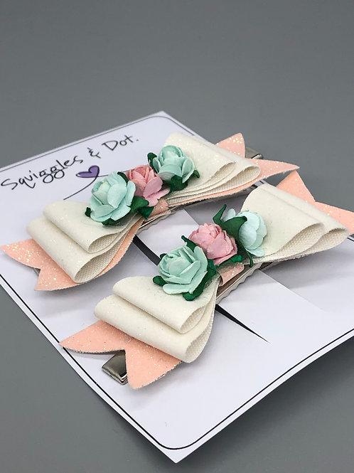Pink, cream & green barrette set