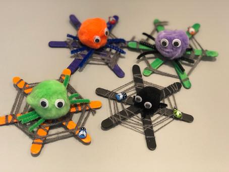 Halloween Crafts: pom pom spiders & lolly stick webs!