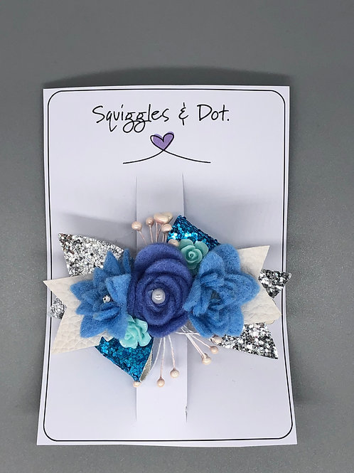 Blue floral hair barrette