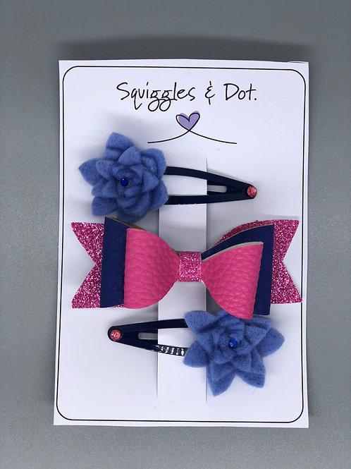 Pink & blue  hair barrette set