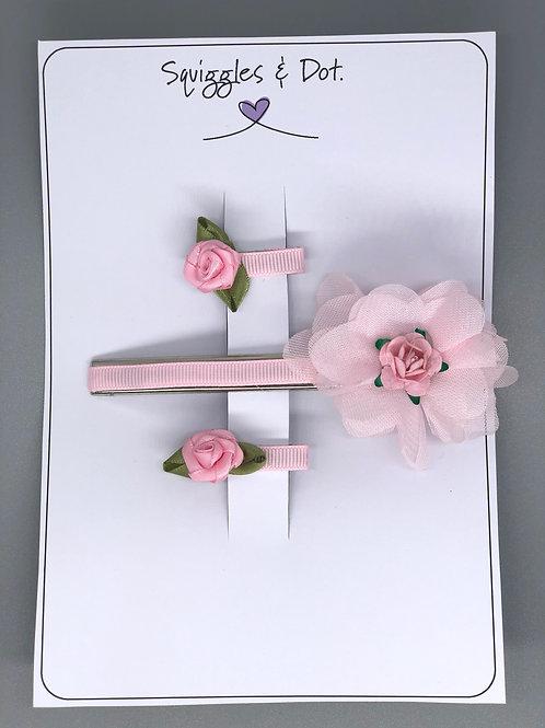 Pink rose hair barrette set