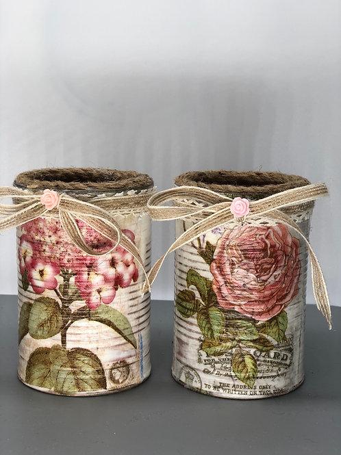 Reclaimed tin pots (x2)