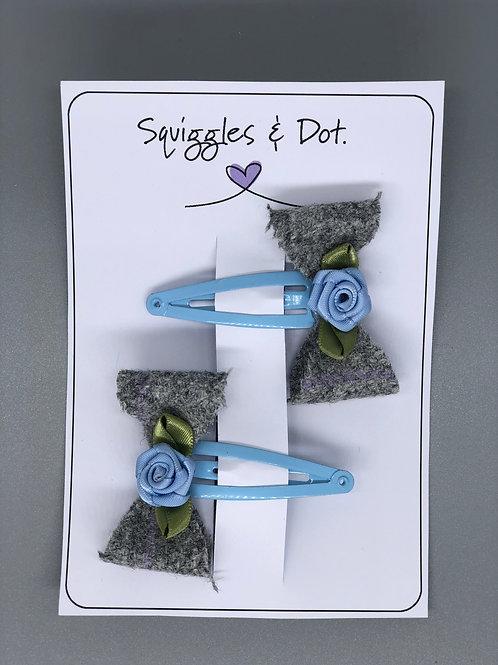 Blue & grey hair barrette set