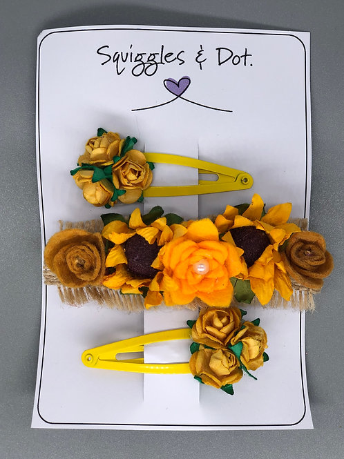 Yellow hair barrette set
