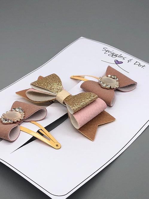 Blush pink & gold hair barrette set