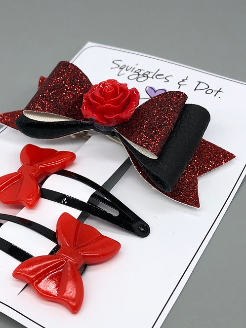 Red & black barrette set