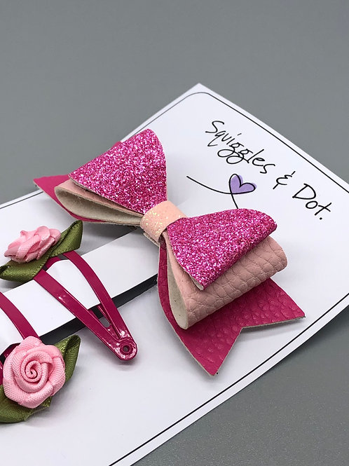 Pink hair barrette set