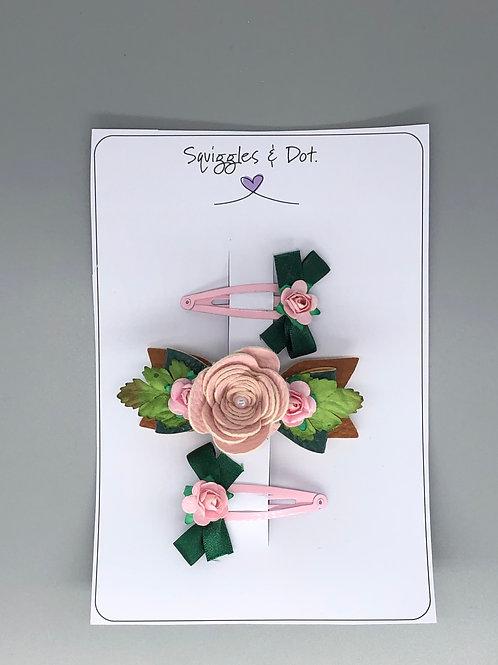 Pale pink rose barrette set