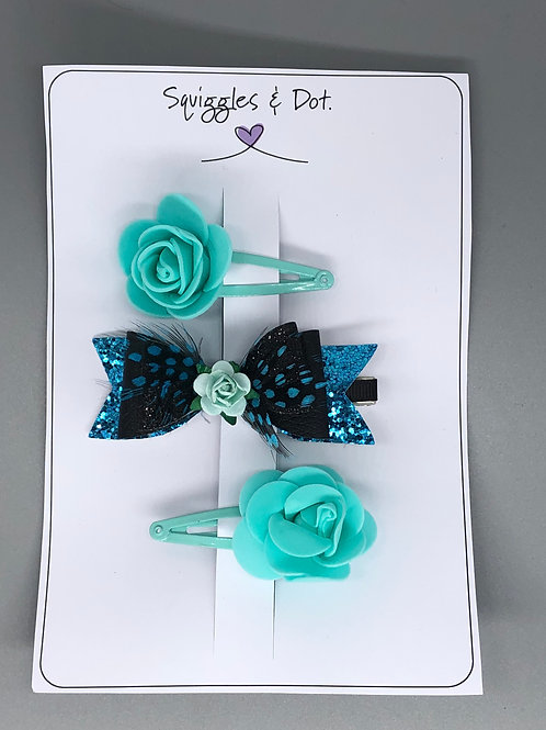 Turquoise hair barrette set
