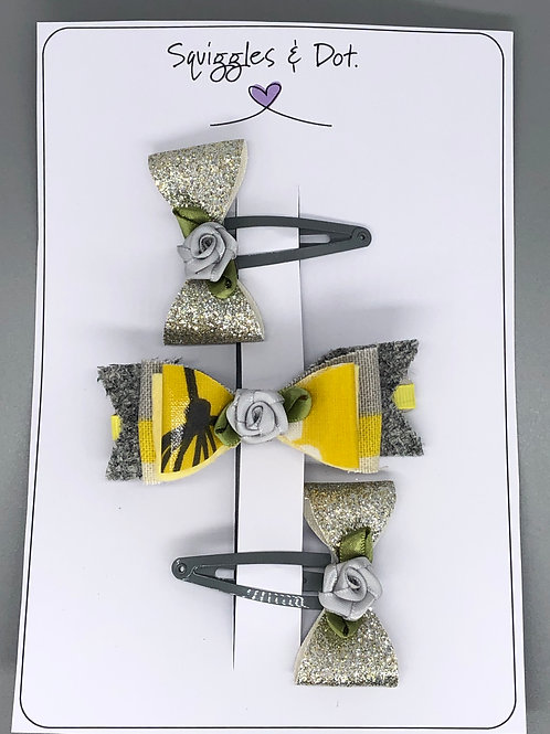 Yellow & grey rose hair barrette set