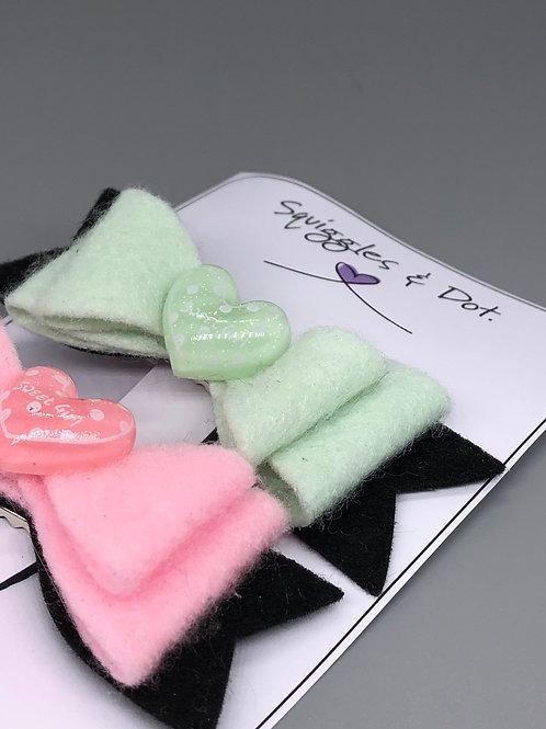 Green & pink hair barrette set