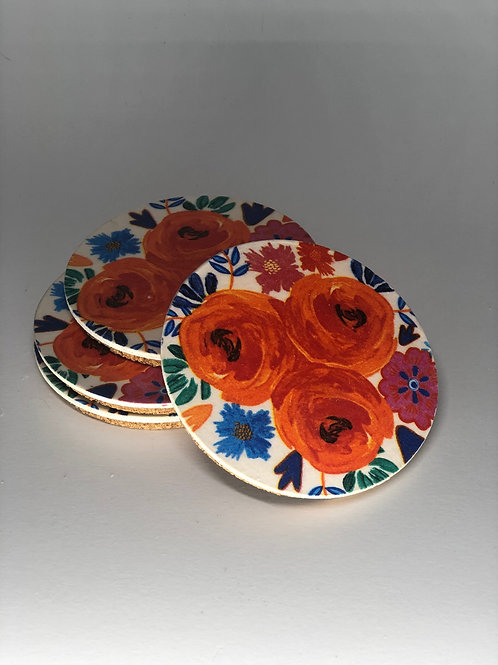 Vibrant Floral Coasters (x4)